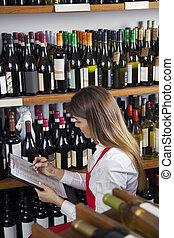 店, 取得, 女子販売員, 在庫, ワイン