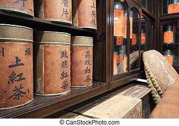 店, 名前, 中国語, お茶, ラベル, tea., 単語, それ