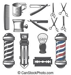 店, 型, セット, 理髪師, elements.