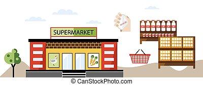 店, 夏, 地元のマーケット, 農夫