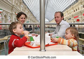 店, 大きい, カフェ, 家族