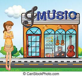 店, 女の子, 音楽