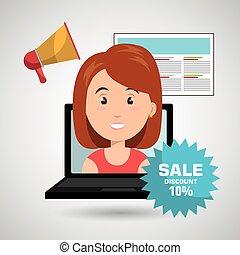 店, 女, セール, オンラインで