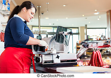 店, 女, ベーコン, 肉屋, 機械, 切断