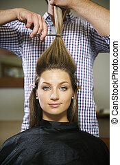 店, 女, 美容師, 長い髪, 切断