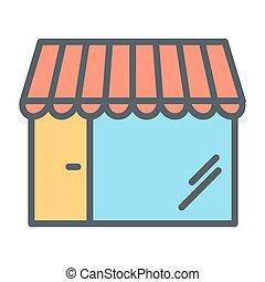店, 完全, 店, pictogram, 単純である, 48x48., ベクトル, 薄いライン, ピクセル, 最小である, アイコン
