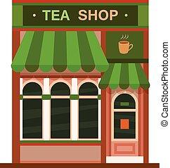店, 平ら, お茶, 前部, アイコン, 光景