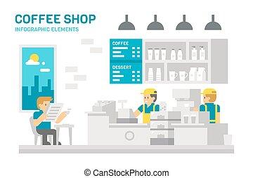 店, 平ら, コーヒー, infographic, デザイン