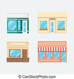 店, 平ら, デザインを設定しなさい, 前部