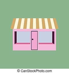店, 平ら, デザイン, アイコン
