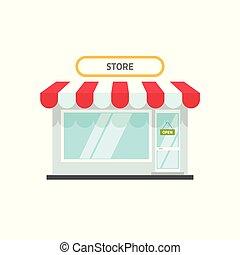店, 平ら, ファサド, 建物, イラスト, テキスト, 隔離された, ∥あるいは∥, 小さい, ベクトル, デザイン, 背景, 前部, 白, 小売り, 開いた, 漫画, 店, 光景