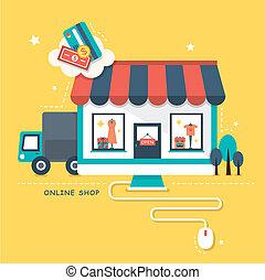 店, 平ら, 概念, デザイン, オンラインで, illustraton