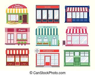 店, 平ら, 買い物, 建物。, レストラン, ブティック, 現代, houses., 建物, 店先, 隔離された, ...