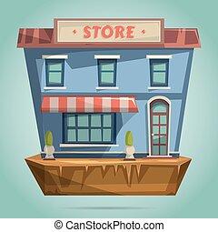 店, 平ら, facade., デザイン, v, ∥あるいは∥, 店