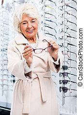 店, 年長の 女性, 光学