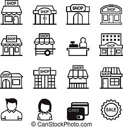 店, 建物, アイコン