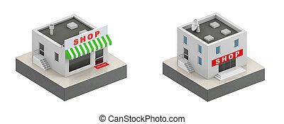 店, 建物, -, イラスト, icon., 3d