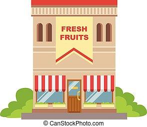 店, 建物, コマーシャル, フルーツ, デザイン, ファサド