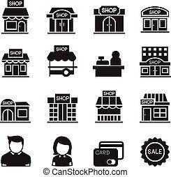 店, 建物, シルエット, アイコン