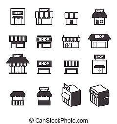 店, 建物, セット, アイコン