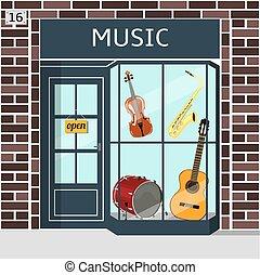 店, 建物, ブラウン, s, 音楽, brick., ファサド