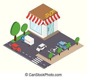 店, 建物, 等大, illustration., ベクトル, 場所, 駐車, style., 3d