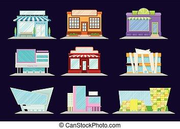店, 建物, 買い物, レストラン, セット, 建築, ショーケース, モール, イラスト, 窓, ベクトル, ファサド, 市場