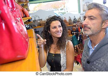 店, 彼の, 娘, 父, 袋, 選択