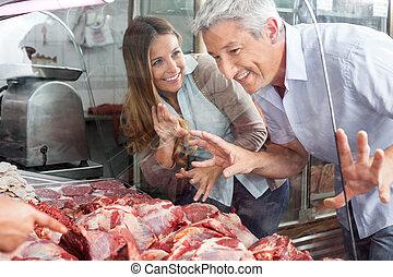 店, 恋人, 購入, 肉, 肉屋