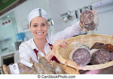 店, 提示, 肉屋, サラミ, 女性, 各種組み合わせ