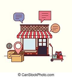 店, 日除け, インターネット商業, 背景, オンラインで, ファサド, 白, 店