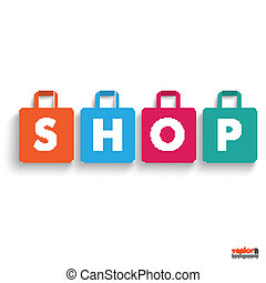 店, 有色人種, 買い物, 紙袋