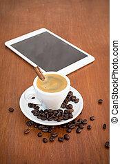 店, 木製である, コーヒー, タブレット, テーブル