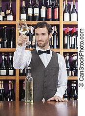 店, 検査, バーテンダー, カウンター, ガラス 白ワイン