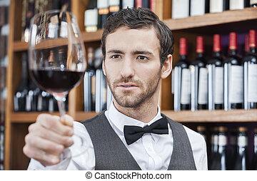 店, 検査, バーテンダー, ガラス赤ワイン