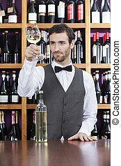 店, 検査, バーテンダー, ガラス 白ワイン