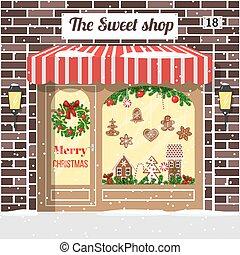 店, 甘い, 飾られる, 照らされた, クリスマス