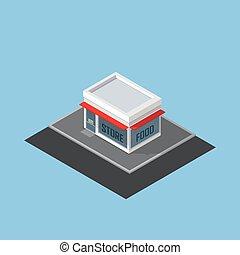 店, 等大, ベクトル, 建物