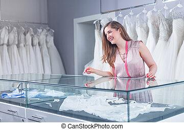店, 結婚式, 若い, 売り手
