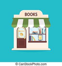 店, 網ビジネス, 本, facade., イラスト, ベクトル, グラフィック, 出版物, 建物。, design., 理想