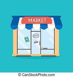 店, 網ビジネス, facade., イラスト, ベクトル, グラフィック, 出版物, 建物。, 市場, design., 理想