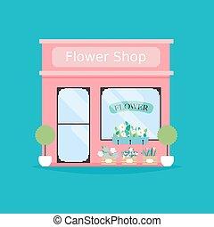 店, 網ビジネス, facade., イラスト, ベクトル, グラフィック, 出版物, 花, 建物。, design., 理想