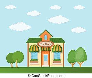 店, 自然, お茶, イラスト, 背景, ベクトル, 正面図