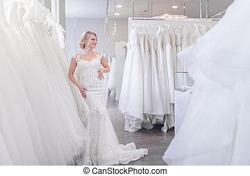 店, 花嫁, 魅力的, 結婚式
