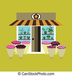 店, 花, 中, イラスト, 屋外で, 花