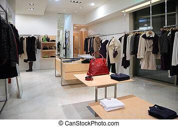 店, 衣類, セクション, 外の, 女性