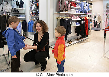店, 衣類, 子供, 母