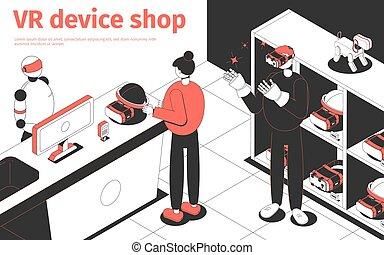 店, 装置, vr, イラスト