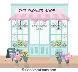 店, 装飾, 花, イラスト, ベクトル, デリケートである, ファサド