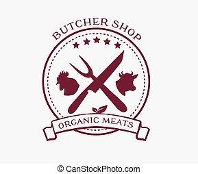 店, 要素, ラベル, 肉屋, デザイン, ロゴ, バッジ